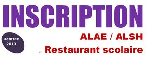 Inscription ALAE/ALSH et restaurant scolaire