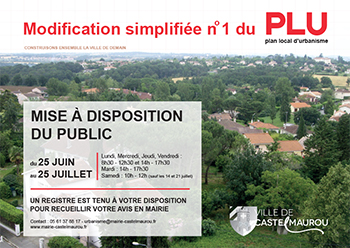 Modification simplifiee numero 1 du plan local d urbanisme Castelmaurou du 25 juin au 25 juillet 2018
